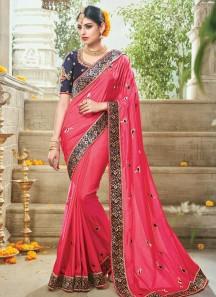 Fantastic Hot Pink Resham Work Traditional Designer Saree