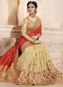 Genius Handloom silk Half N Half Designer Saree