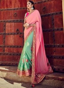 Glamorous Pink and Turquoise Designer Half N Half Saree
