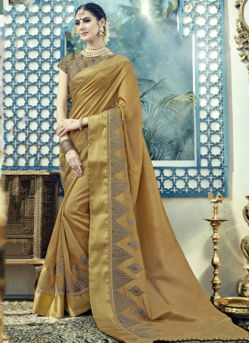 Gold Color Saree With Contrast Heavy Work Blouse