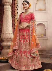 Gorgeous Lehenga Choli In Unique Work Including Contrast Net Dupatta