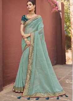 Gorgeous Organza Fabric Saree With Contrast Border
