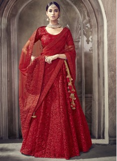 Gorgeous Red Lehenga Choli In One Color WIth Net Fabric