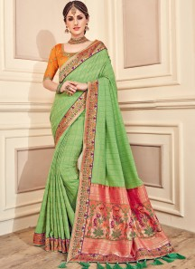 Gorgeous Soft Silk Saree With Heavy Work Blouse