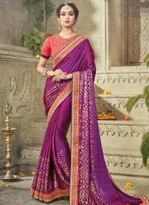 Gratifying Satin Sequins Work Designer Traditional Saree
