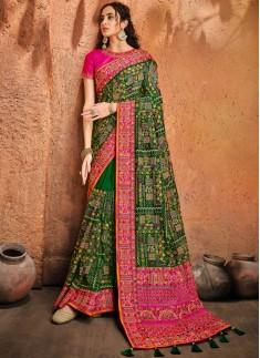 Green Banarasi Silk Saree With Pure Kachhi Work ,Diamond & Mirror Heavy Work Including Contrast Heavy Work Blouse Piece