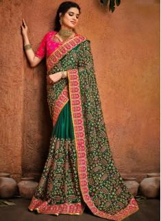 Green Pure Satin Saree With Jari,Thread,Diamond & Mirror Heavy Work Including Contrast Heavy Work Blouse Piece