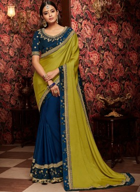 Half And Half Saree With Contrast Heavy Blouse Piece
