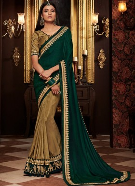 Half N Half Sarees With Decent Color Combination And Contrast Heavy Blouse