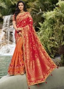 Half-N-Half Style Attractive Resham Jari work Saree With Contrast Heavy Work Blouse Piece
