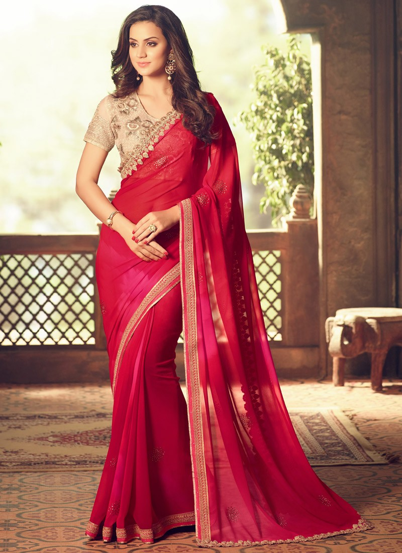4a1562aa86d35 Heavy Blouse Saree With Designer Cut Work
