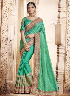 Incredible Sea Green Patch Border Work Traditional  Saree