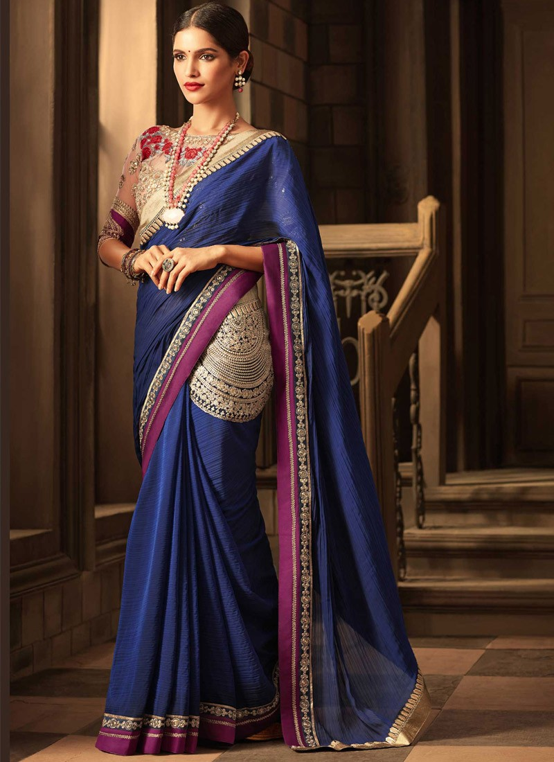 Kandora Style Saree With Contrast Blouse