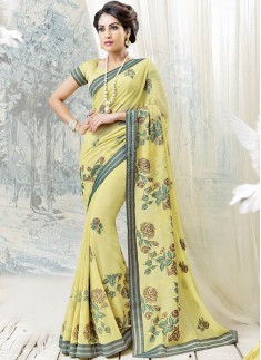 Lemon Color SAree With Beautiful Floral Cross Stitch Work