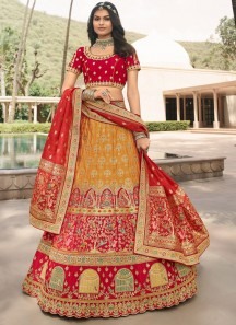 Luxurious Lehenga Choli In Banarasi Silk With Elegant Design Work