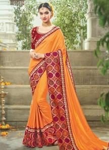 Modish Orange Traditional  Saree