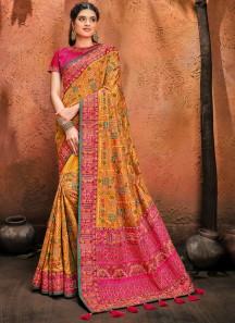 Mustard Banarasi Silk Saree With Pure Kachhi Work ,Diamond & Mirror Heavy Work Including Contrast Heavy Work Blouse Piece