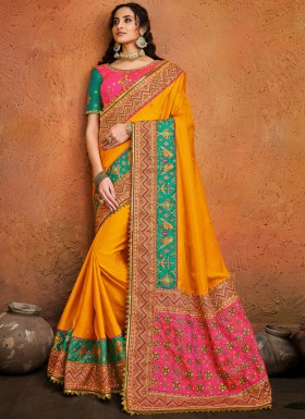 Mustard Pure Satin Saree With Mirror,Resham & Diamond Heavy Work And Contrast heavy Work Blouse Piece