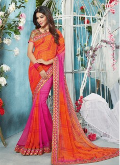 orange and pink desiger saree