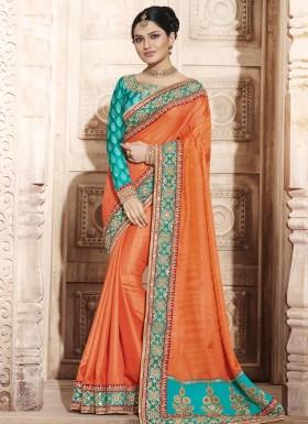 Orange Embroidered Work Handloom silk Designer Traditional Saree