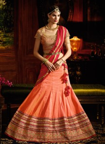 Paramount Silk Orange A Line Lehenga Choli