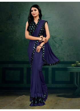 Party Wear Butterfly Pallu saree With Contrast Heavy Sequin Work Blouse Piece