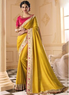 Party Wear Soft Silk Saree With Contrast Heavy Wor