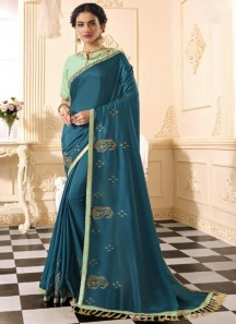 Party Wear Soft Silk Saree With Contrast Heavy Work Blouse Piece