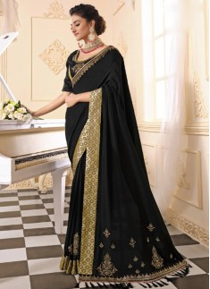 Party Wear Soft Silk Saree With Heavy Work Blouse Piece