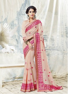 Peach Color Saree With Pink Color Resham Work