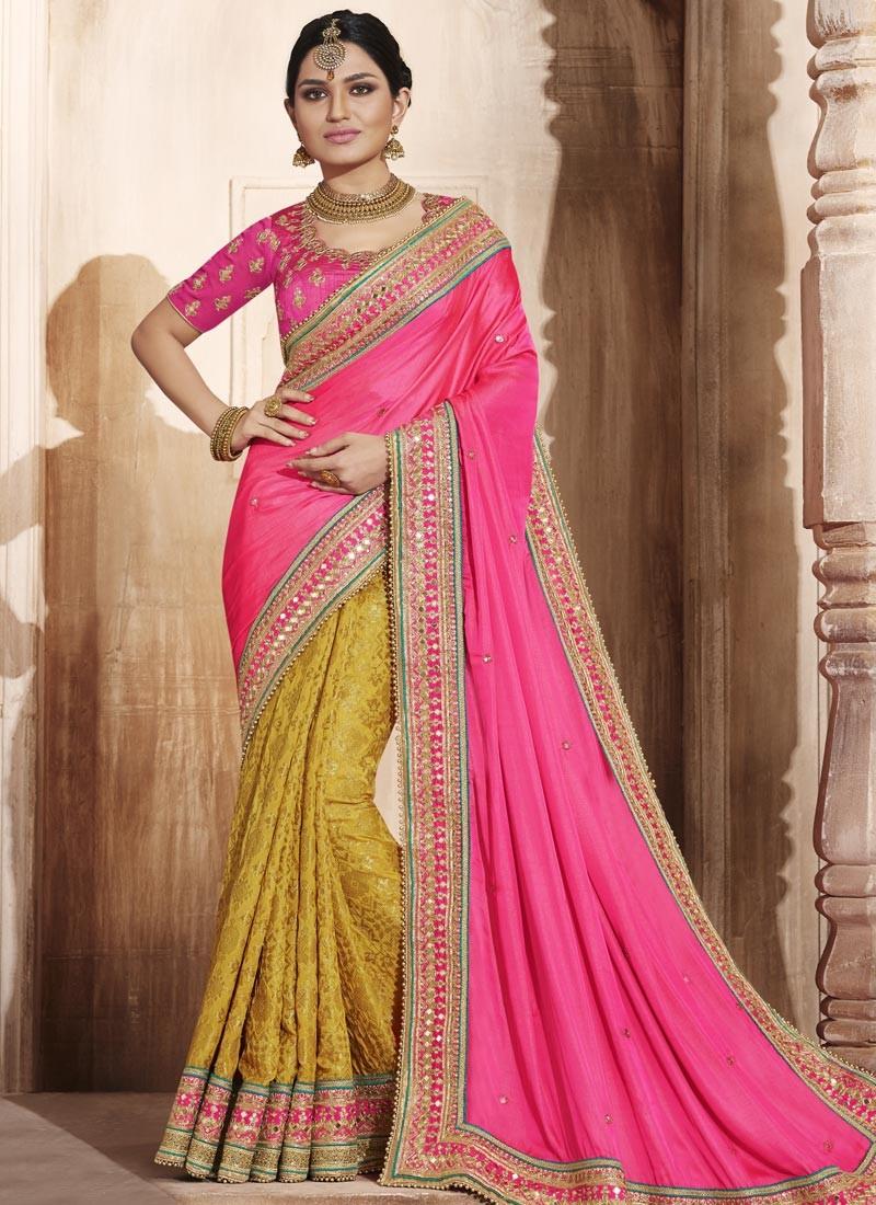 Picturesque Hot Pink and Mustard Designer Half N Half Saree