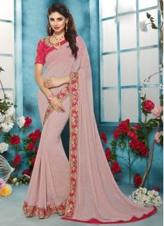 pink designer saree