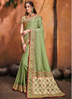 Pista Pure Satin Saree With Mirror,Resham & Diamond Heavy Work Including Contrast Heavy Work Blouse Piece