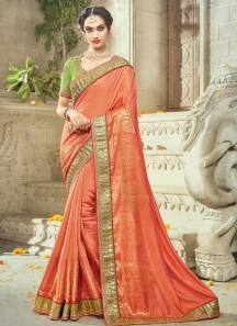 Prime Orange Art Silk Traditional Designer Saree