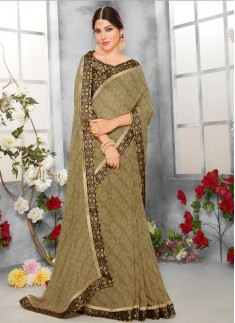 printed saree with digital border with digital boluse