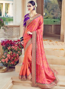 Radiant Orange and Purple Resham Work Art Silk Designer Traditional Saree