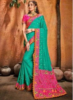 Rama Turban Silk Saree With Resham ,Mirror & Diamond Heavy Work Including Contrast Heavy Work Blouse Piece