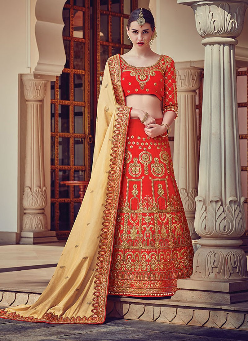 9c9b846999 Ravishing Red Patch Border Work A Line Lehenga Choli