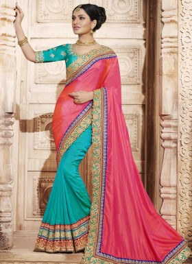 Remarkable Handloom silk Patch Border Work Half N Half  Saree