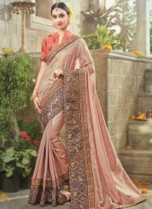Remarkable Patch Border Work Beige Classic Designer Saree