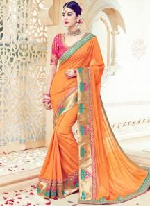 Resplendent Art Silk Orange Embroidered Work Traditional Designer Saree