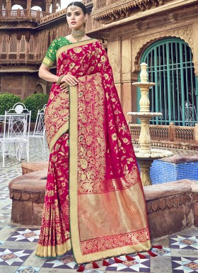 Rich Look Banarsi Silk Saree With Jari Weaving And Hevy Blouse Piece