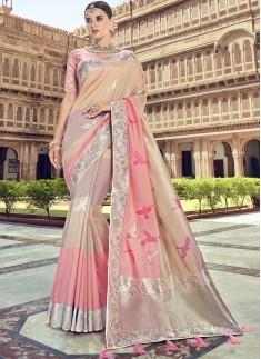 Rich Look Banarsi Silk Saree With Jari Weaving And Hevy Blouse Piece
