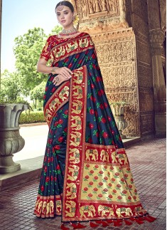 Rich Look Banarsi Silk Saree With Jari Weaving And