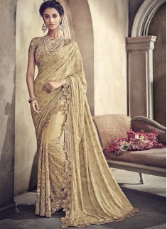 Rich Look Net Saree With Cut work Border And Heavy Work Blouse Piece