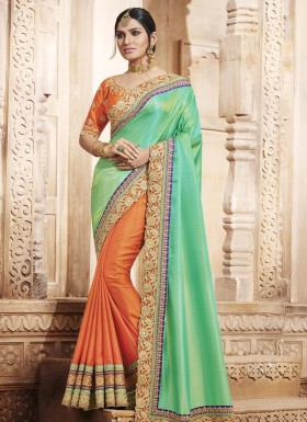 Riveting Handloom silk Embroidered Work Designer Half N Half Saree
