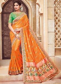 Silk Fabric Saree With Contrast Heavy Blouse Saree