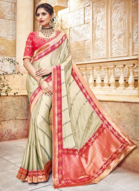 Silk Fabric Saree With Contrast Heavy Blouse Saree