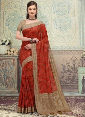 SImple Lakhnavi Silk Material saree With Contrast Simple Blouse Piece