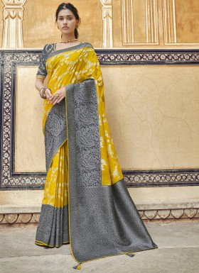 Skirt Border Saree With All Over Weaving Saree With Heavy Work Blouse Saree